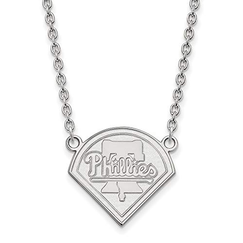 Philadelphia Phillies Cufflinks - MLB Philadelphia Phillies Sterling Silver MLB LogoArt Philadelphia Phillies Large Pendant with Necklace Size One Size