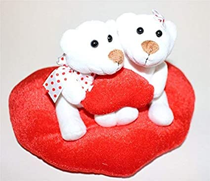 Oso de peluche con corazón par sentado en un corazón bonito día de San Valentín Regalo