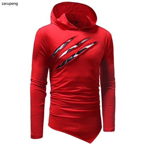 Rojo larga manga Camiseta para otoño e invierno sólido color capucha hombre zarupeng con de en de RqgpZ