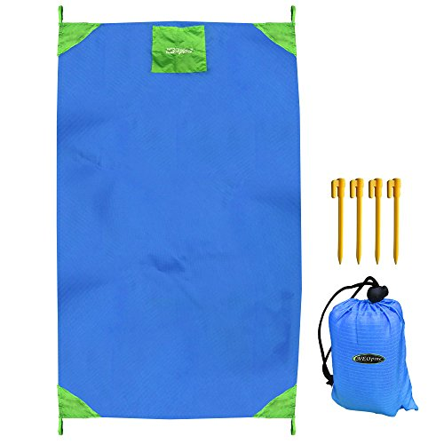 NEOPINE Beach Blanket Mat 9 x8 w Water Sand Resistant Coating, 6 XL Sand Pockets, Stakes and Valuables Pocket 210 D Polyester, Lightweight, Portable – for Beach, Picnic, Home, Travel