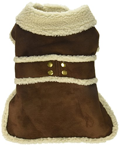 Fashion Pet Outdoor Dog Shearling Coat, Medium, Brown