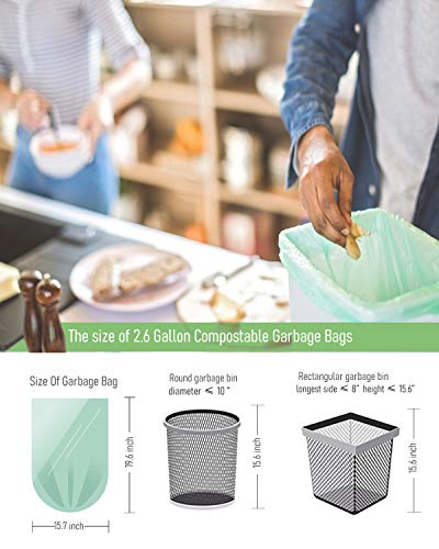 Small Trash Bags Garbage Bags, 2.6 Gallon Mini Compostable Trash Bags Bathroom Wastebasket Can Liners, Food Scrap Small Kitchen Trash Bags For Bedroom Office Fit 10 Liter,125 Count,Green