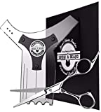 Upgraded Beard Shaping Tool & Trimming Scissors Kit, Best Styling Shaper Template for Perfect Line Up & Edgings When You Combine W/The Precision Stainless Steel Shears, Works W/Any Razor Or Trimmer
