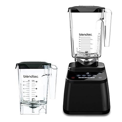 Blendtec Designer 625 Blender – WildSide+ Jar (90 oz) and Mini WildSide+ Jar (46 oz) BUNDLE – Professional-Grade Power – 4 Pre-Programmed Cycles – 6-Speeds – Sleek and Slim – Black