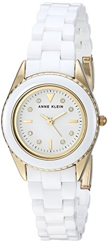 Anne Klein Women's AK/3164WTGB Swarovski Crystal Accented Gold-Tone and White Ceramic Bracelet ()