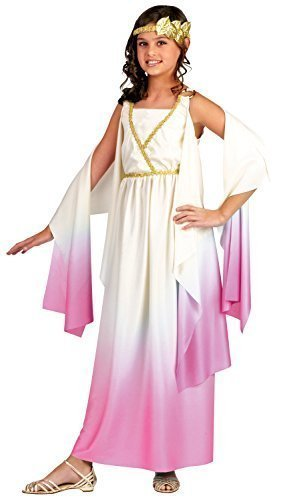 Kids Greek Goddess Costumes (Greek Goddess Child Costume White Pink - Medium)