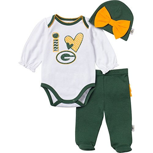NFL Green Bay Packers Baby Girls 3-Piece Set Bodysuit, Pant