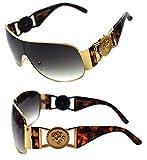 Men's Women's Metal Gold Coin Medallion Logo Large Shield Aviator Sunglasses Vintage Hip Hop Rapper (Brown Gold)