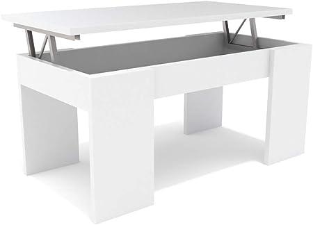 Dormidan- Mesa de Centro elevable, Comedor o Auxiliar, Mayor Grosor y Estabilidad (Blanco/Blanco) …: Amazon.es: Juguetes y juegos