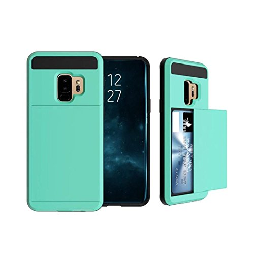 Price comparison product image MChoice For Samsung Galaxy S9 Plus 6.2inch Card Wallet Slot Hybrid Hard Slim Phone Case Cover (Mint Green)
