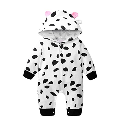 Toddler Baby Girls Boys Clothes Sets for 0-24 Months,Spring and Autumn Thin Cow Print Hooded Romper Onesies Jumpsuit Outfits (18-24Months, Black)]()