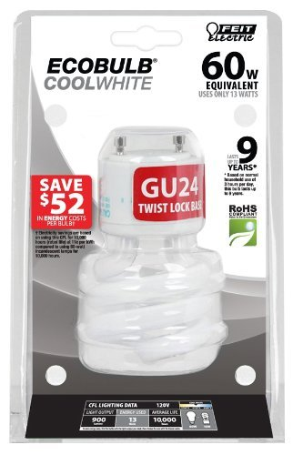 - Feit BPESL13T/GU24/41K 13-watt Twist GU24 Base 60-watt Equivalent Light Cool White Color: Cool White Style: 1 Model: BPESL13T/GU24/41K