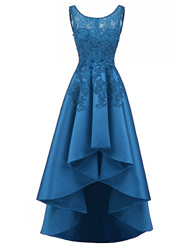 LOVING HOUSE Women's Beading Lace Wedding Party Dress Hi-lo Satin Prom Dress Evening Gowns Formal P019 Teal 0