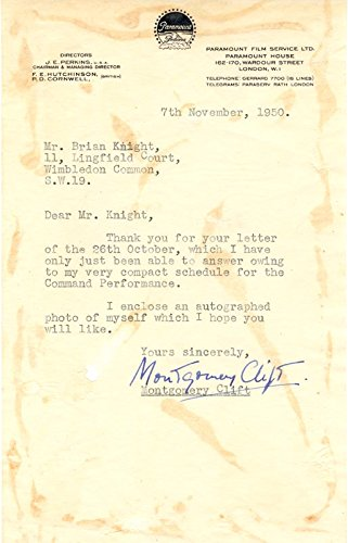 Montgomery Clift – Typed Letter Signed 11/07/1950
