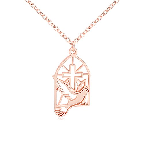 oss Dove Religious Pendant Necklace (rose gold) ()