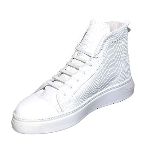 Pelle Lacci Italy Pitonata Foderato Comfort Vera Tono Fondo In Sneakers Alta Handmade Uomo Bianco Su Made pOwxx4Btq