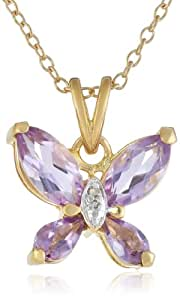 Yellow Gold-Plated Sterling Silver Amethyst Butterfly Pendant Necklace, 18""