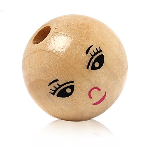 (30pcs Natural Color Smile Face Ball Wood Beads Spacer Beads for DIY Jewelry Bracelet Necklace Making)