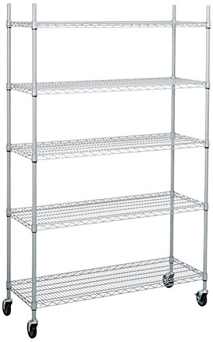 Trinity 5-Tier NSF Outdoor Rack, 48 by 18 by 72-Inch, Gray (Wheel Epoxy)