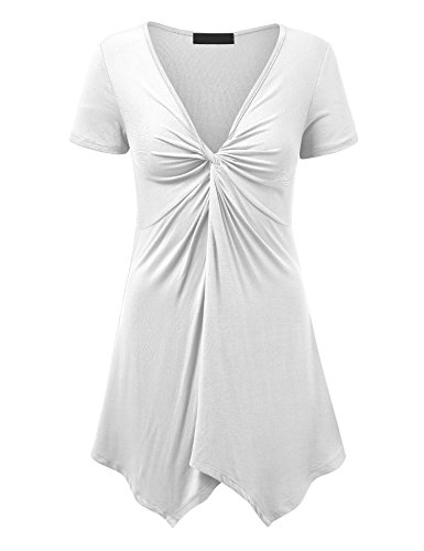 Lock and Love LL WT1359 Short Sleeve Knot Front Baby Doll Tunic XXXL White ()