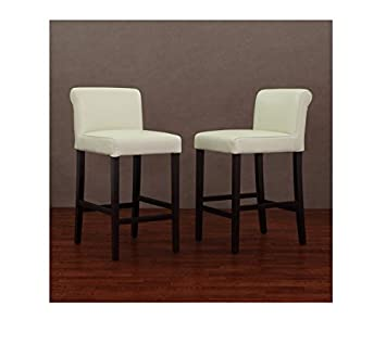 creme leather counter stools set of 2 - Leather Counter Stools