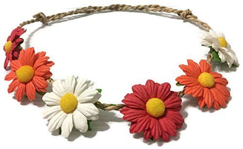 Handmade Thai Hair Band With Multicoloured Daisy And Hemp Rope,Adjustable. (21-25 Inchs, - Eyeglasses Nyc Designer