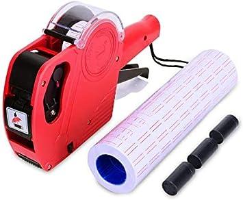 Etichette rotoli per prezzatrice colore bianco con linee rosse 21x12 10 rotoli da 1000 etichette 10000 etichette