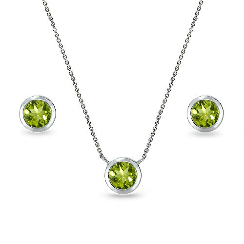 (Sterling Silver Peridot 5mm Round Bezel-Set Solitaire Small Dainty Choker Necklace and Stud Earrings Set for Women)