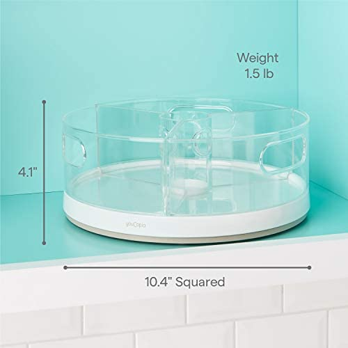 """41BRaQ0hUXL. AC YouCopia Crazy Susan Kitchen Cabinet Turntable and Snack Organizer with Bins    YouCopia's crazy Susan 11"""" turntable with bins is a smooth-spinning lazy Susan that doesn't sweat (or hide) the small stuff. Easily organize the little things that often clutter a kitchen, pantry, closet, office or bathroom. This cabinet helper features three individual bins with handles, so you can remove an entire bin to quickly grab something, and then pop it back on the turntable when finished. Spin and see what you need with clear acrylic bins. Stainless steel Ball bearings provide smooth 360 degree rotation. Made of durable, BPA-free plastic with soft, non-slip feet to keep it all in place. No installation or assembly required. Simply throw items into bins and call it a win. Measures 10.4"""" d x 10.4"""" W x 4.1"""" H (26, 4 x 26, 4 x 10, 4 centimeters). YouCopia is that feeling of triumph over small stuff. No one likes the hassle of a messy home, so our products keep items organized just the way you want. Go ahead, """"woo Hoo"""" when everything is right where it should be."""