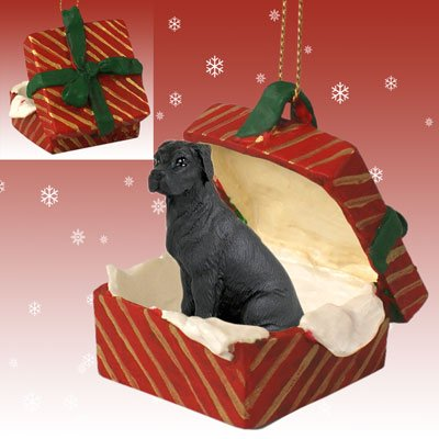 - GREAT DANE Dog Black Uncropped Ears in a RED GIFT BOX Christmas Ornament New Resin RGBD100A
