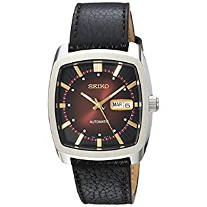 Seiko Men's RECRAFT Series Stainless Steel Automatic-self-Wind Watch with Leather Calfskin Strap, Black, 22 (Model: SNKP25)