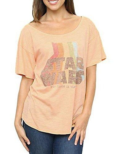 Star Wars The Force Is Strong Vintage Off the Shoulder Peach Juniors T-shirt (Juniors X-Large)