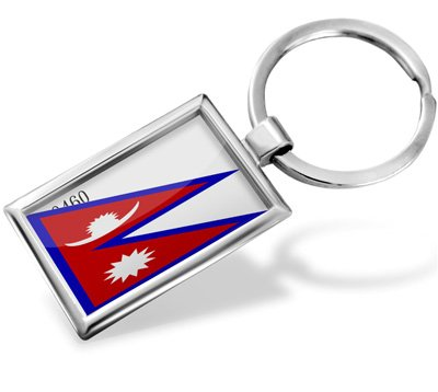 "Keychain ""Nepal Flag"" - Hand Made, Key chain ring"