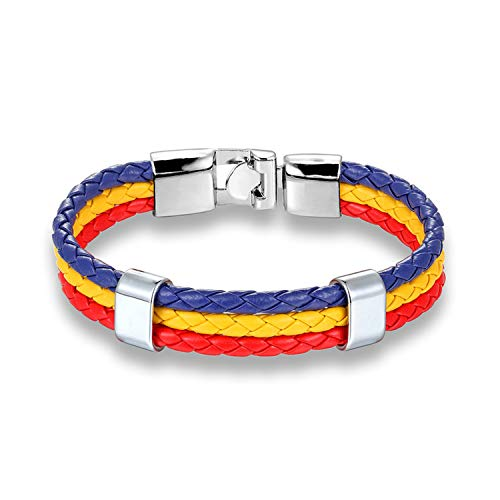 Peony red Worldfotball Mexico Russia Italy Spanish National Flag Leather Bracelet Men Women Handmade Wristband Friendship Gift,Romania1