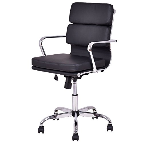 Giantex Mid Back PU leather Executive Office Chair Computer Desk Task Swivel Black