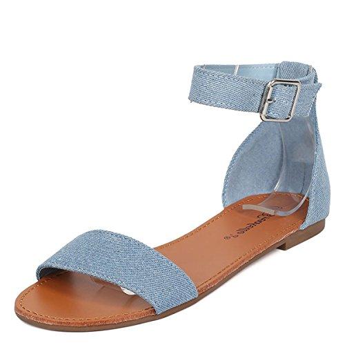 Breckelles Womens Open Toe Buckle Ankle Strap Gladiator Flat Sandals Shoes 6 Blue (Shoe Blue Denim)