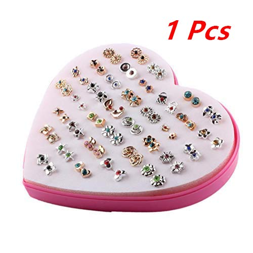 (Efaster Heart-Shaped Jewelry Storage Box,Children Kids Little Girl Gift, Jewelry Adjustable Rings in Box, Girl Pretend Play and Dress up Rings,Random Shape and Color, Valentine's Day Gift (1 Pcs))