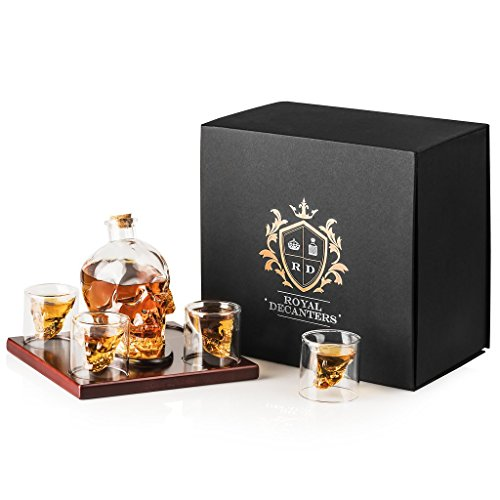 Royal Decanters Skull Shaped Glass Whiskey and Liquor Decanter Gift Set - Includes 4 Double Walled Skull Shot Glasses Also for Brandy Tequila Bourbon Scotch Rum -Alcohol Related Gifts for (750 Ml Gift Set)