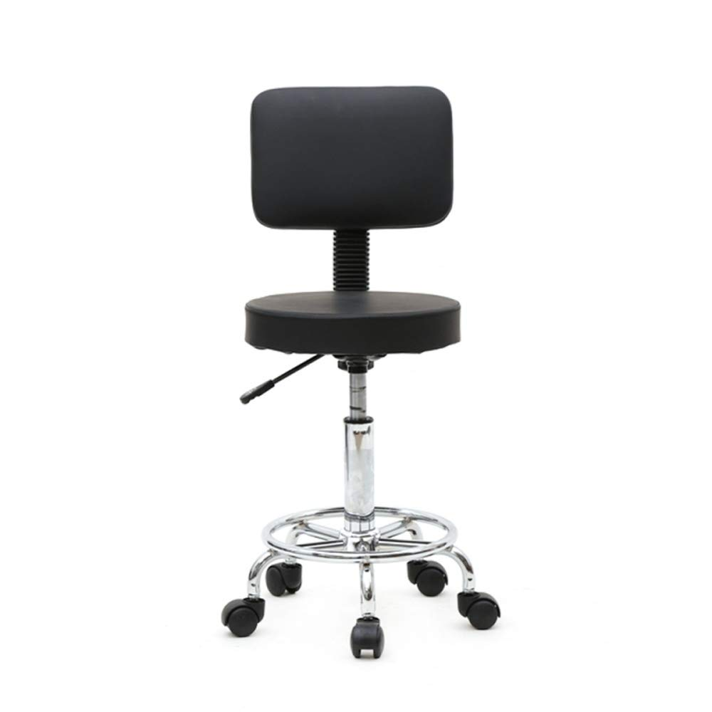 Teekland Round Shape Adjustable Salon Stool with Back Swivel Office Desk Chairs