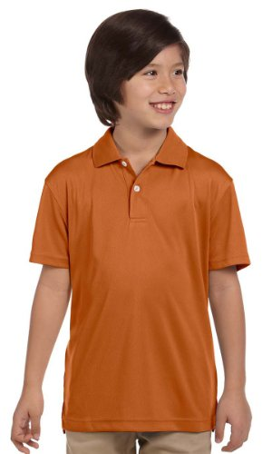 Harriton Youth Polyester Moisture Wicking Sport Shirt, Texas Orange, Large