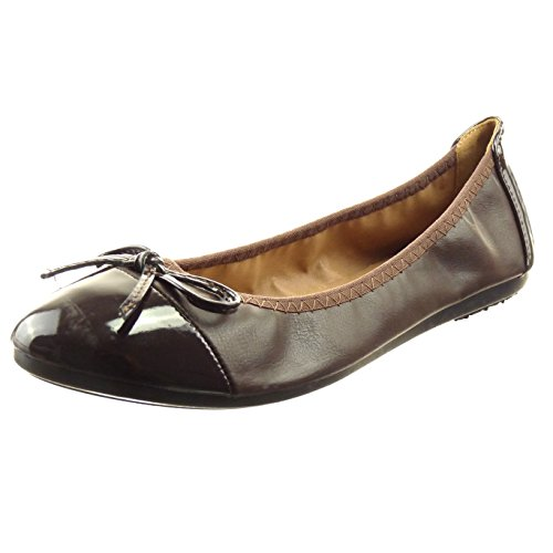 Sopily - damen Mode Schuhe Ballerina Knoten Patent - Braun