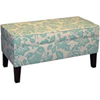 Skyline Furniture Modern Upholstered Storage Bench in Canary Robin
