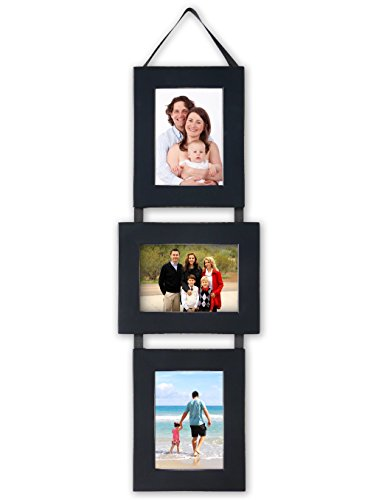 Cheap MyBarnWoodFrames -Lightly Distressed Set of 3, 5x 7″ Wood Picture Frames on Hanging Ribbon, Black (Portrait-Landscape-Portrait)