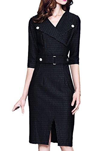 Scothen Vintage de la Mujer de manga larga elegante vestido de partido de negocios vestido de cóctel Knielanges vestido de noche Bodycon vestido Stripe