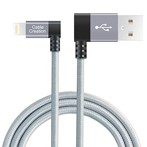 CableCreation Angled Lightning to USB Cable, 4FT Apple USB Data Sync Charge Cable for iPhone 6S/6, iPhone 5/5S/5C, Metal Plug & Cotton Jacket, Space Gray Color