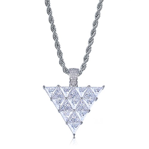 Pendant Stone Inverted (SHINY.U 14K Gold and Silver Plated Big Simulated Diamond Zirconia Inverted Triangle Pendant Necklace for Men Women Fashion Jewelry Gifts (Silver Triangle))