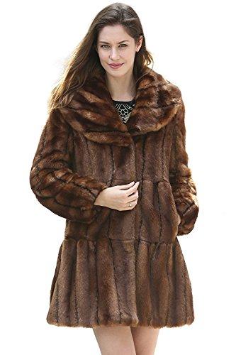 Soft Faux Mink Fur Coat Brown L ()