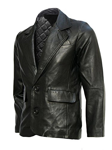 Black Leather Blazer Mens - 5