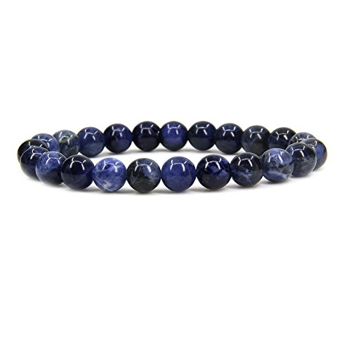 (Natural Blue Sodalite Gemstone 8mm Round Beads Stretch Bracelet 7