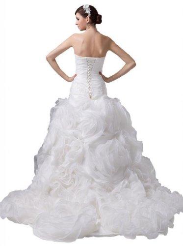 Dearta Tribunal Sweetheart Une Ligne Ferroviaire De Femmes Robes De Mariage En Organza Blanc